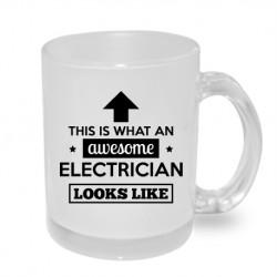 This is what an awesome elektrican look like - Originální dárkový hrnek s potiskem, dárek pro elektrikáře